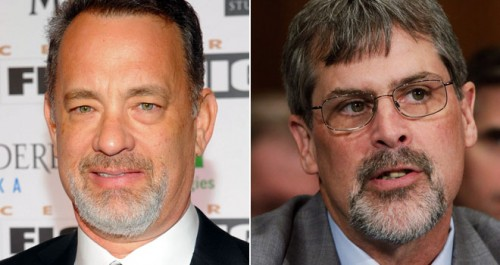 Tom Hanks as Captain Phillips and the real Captain Phillips