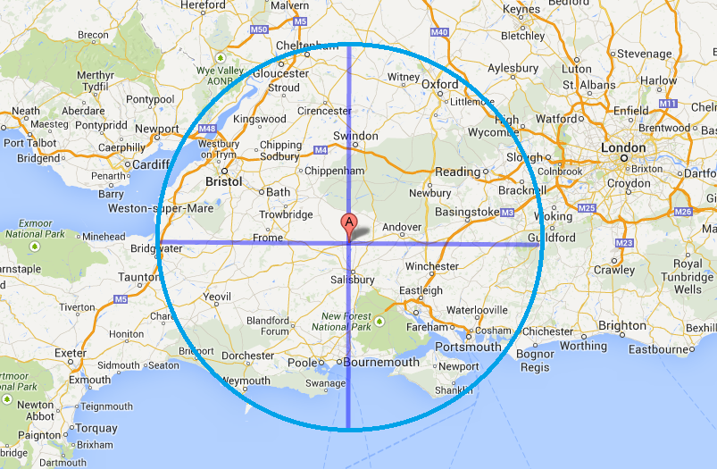 Very roughly an area 100 miles in diameter centred on Stonehenge