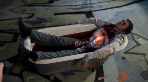 Dead guy in a bath