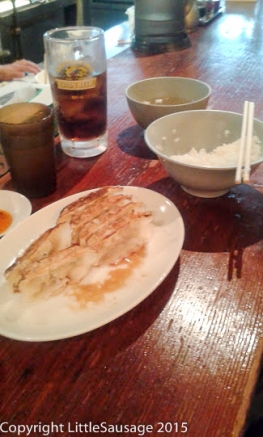 Gyoza, rice, and soup, yum.