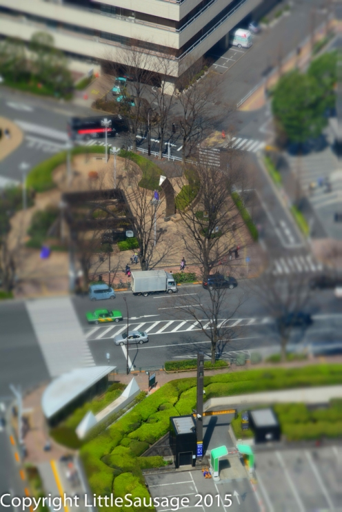 Playing about with the camera's miniaturisation effect. Since we're so high up it isn't really needed!