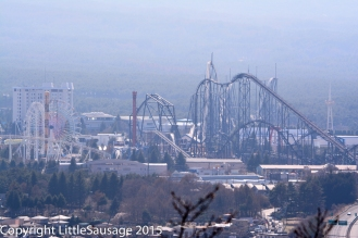 Fuji-Q Highland seen from a distance.