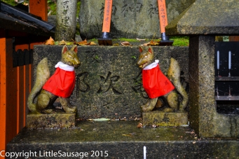 Small kitsune statues are also on most of the small shrines.