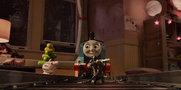 I'm not aware of any other super hero movie that features Thomas the Tank Engine.